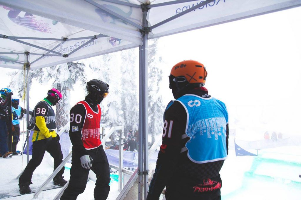 Adam Dickson getting ready to race in one of the NorAm races in Big White, Canada