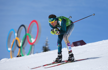 Callum racing in the Sochi Olympics