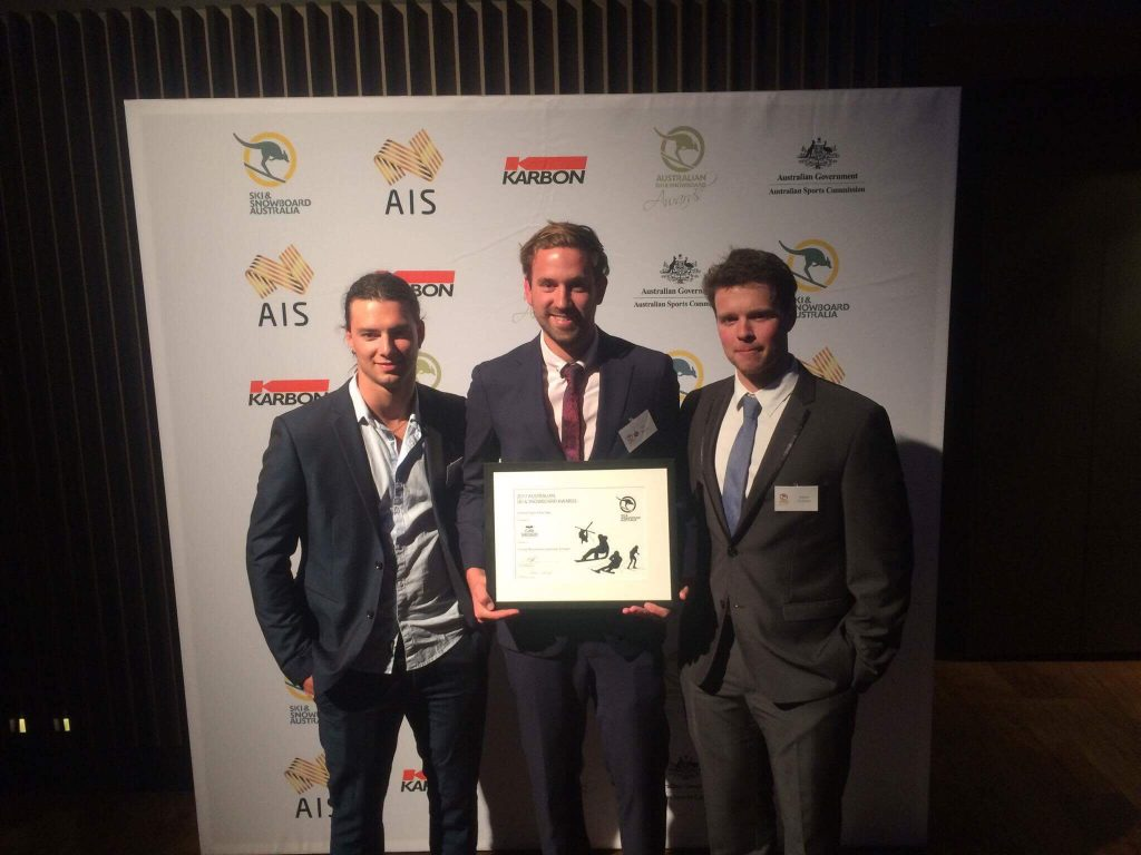 Head of Sport, Mr Tim Bland accepting the Australian Snowsports School of the Year at the 2017 Ski and Snowboard Australia Awards tonight in Melbourne with SMGS Alumni Matt Thomas and Adam Dickson.