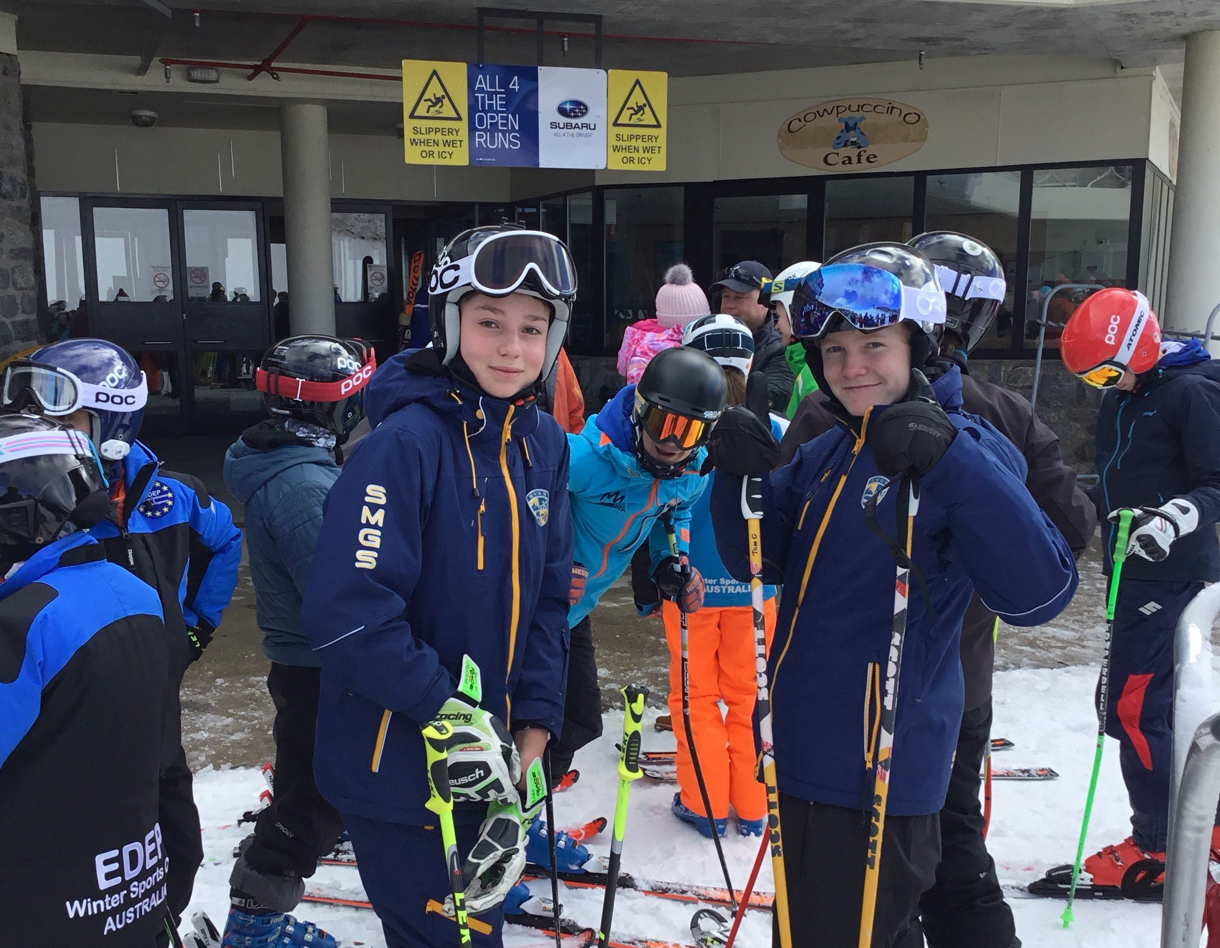 "First day on snow! ESA students (l-r) Brodie Moller, Ben Wynn & Tom Gannon, who says he's ""so excited to be back!"""