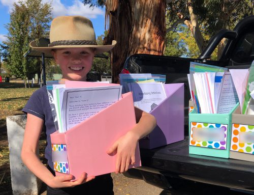 There were smiles for miles at the Junior School Term 2 work pack pick up